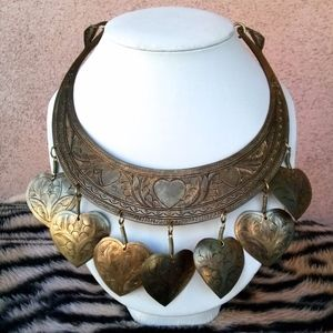 1970s Etched Brass Hearts Necklace 20""